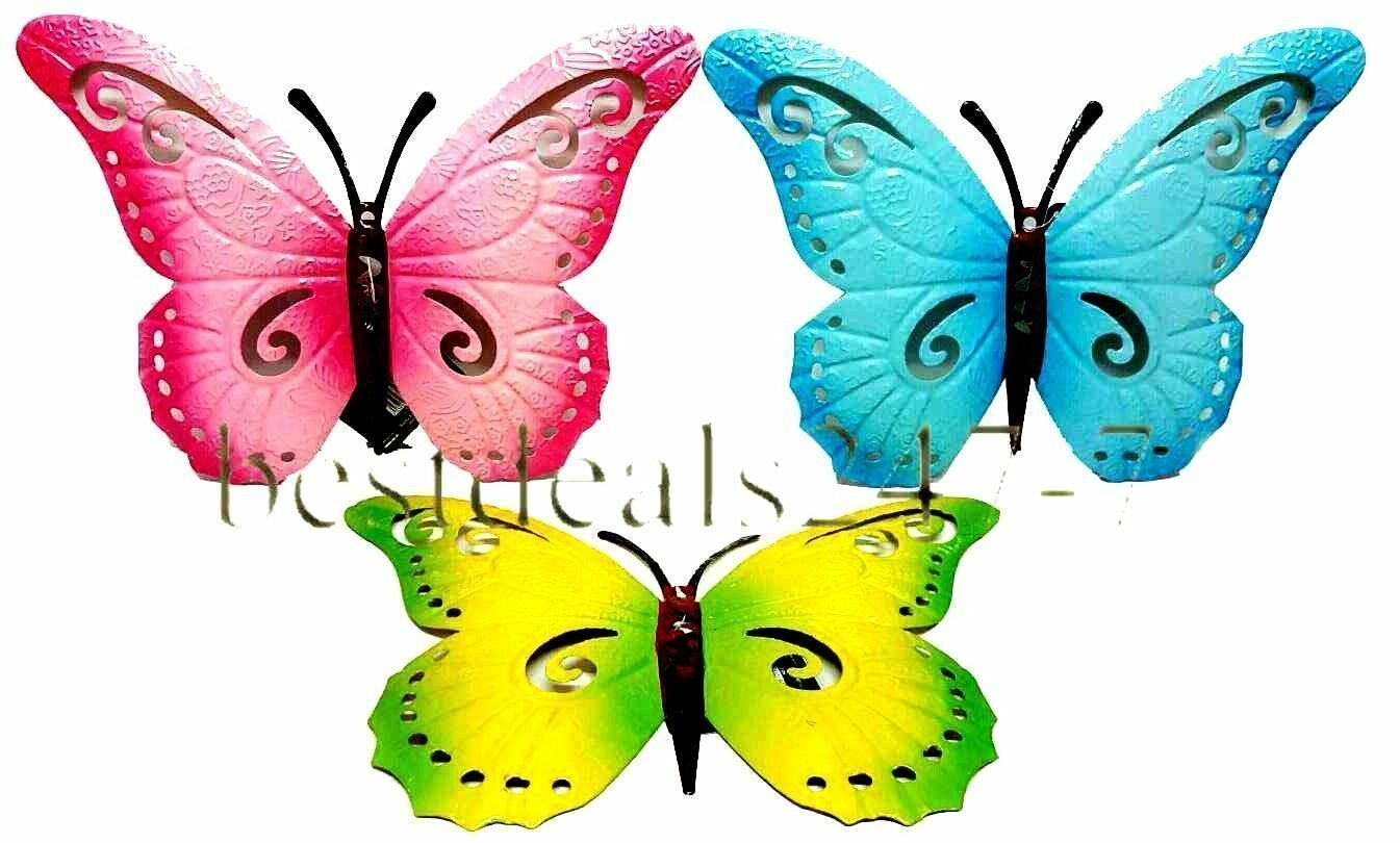 Butterfly Large New Blue Metal Butterflies Wall Art Outdoor Garden  Decoration 1 Of 1FREE Shipping See More