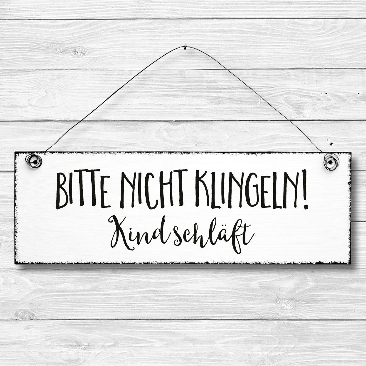 shabby holz deko wand t r schild nicht klingeln kind schl ft t rschild eur 6 90 picclick de. Black Bedroom Furniture Sets. Home Design Ideas