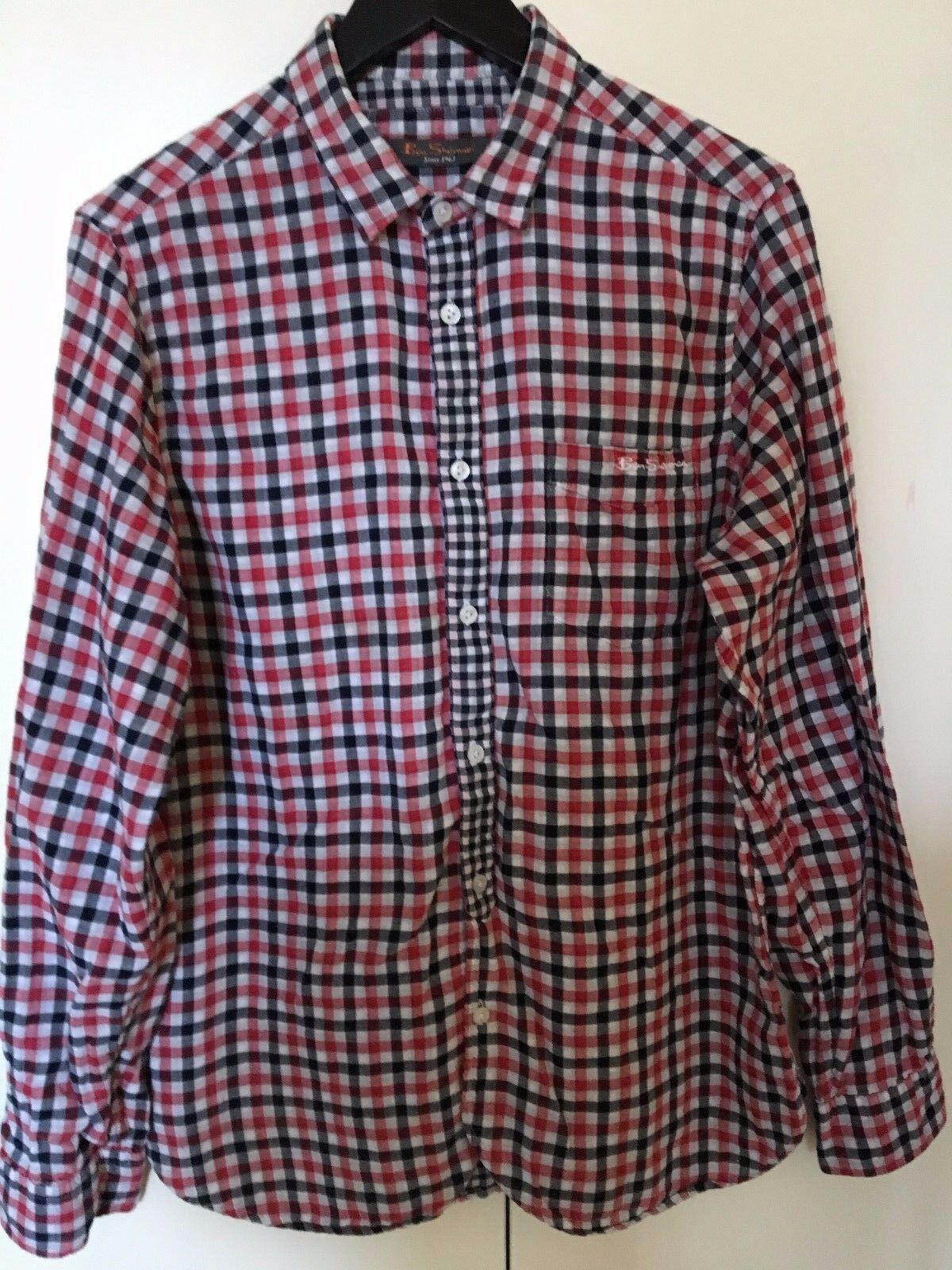 Ben Sherman 100 Soft Cotton Red Black White Check Long