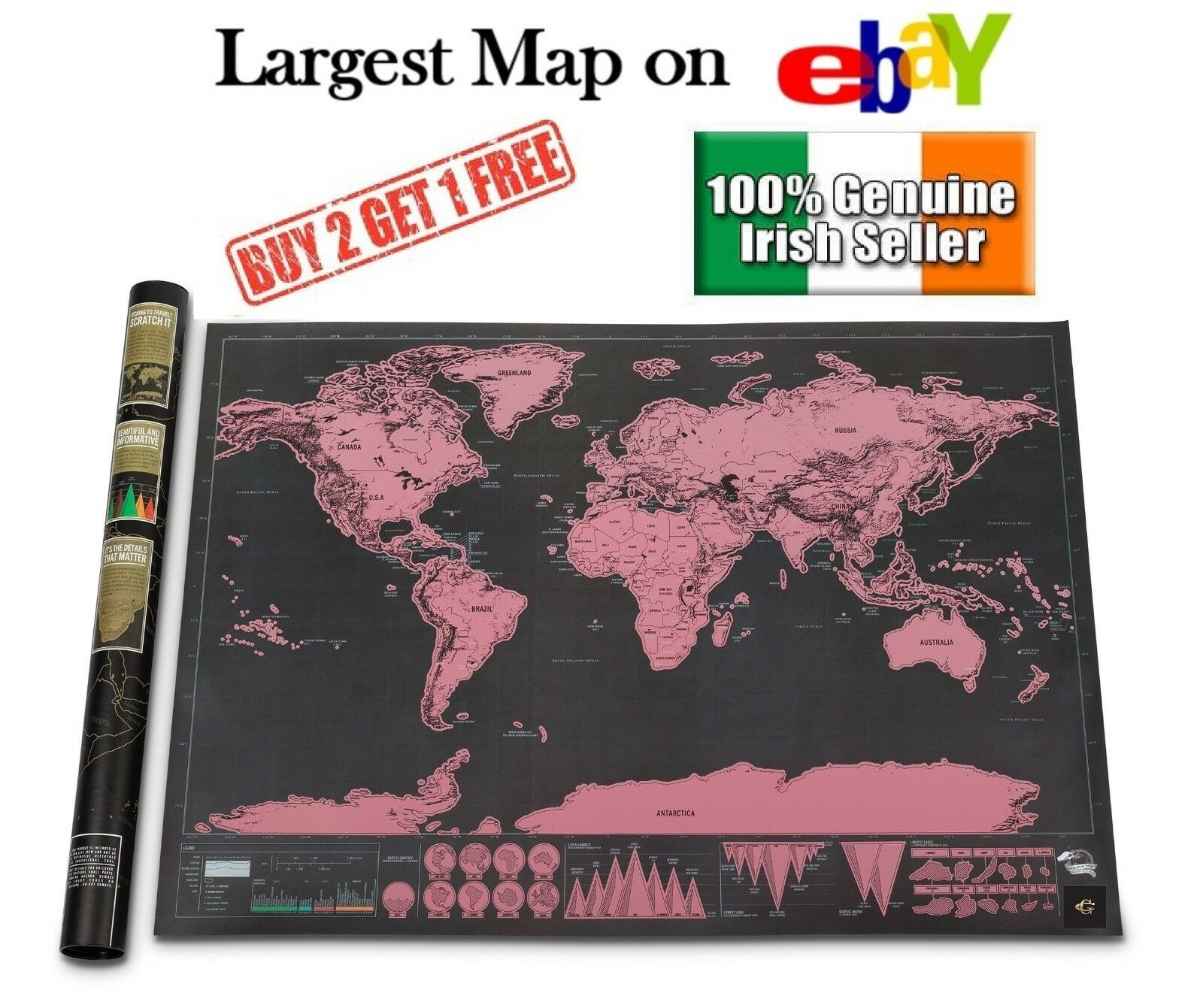 xl large scratch off world map poster personalized travel vacation personal gift cad. Black Bedroom Furniture Sets. Home Design Ideas