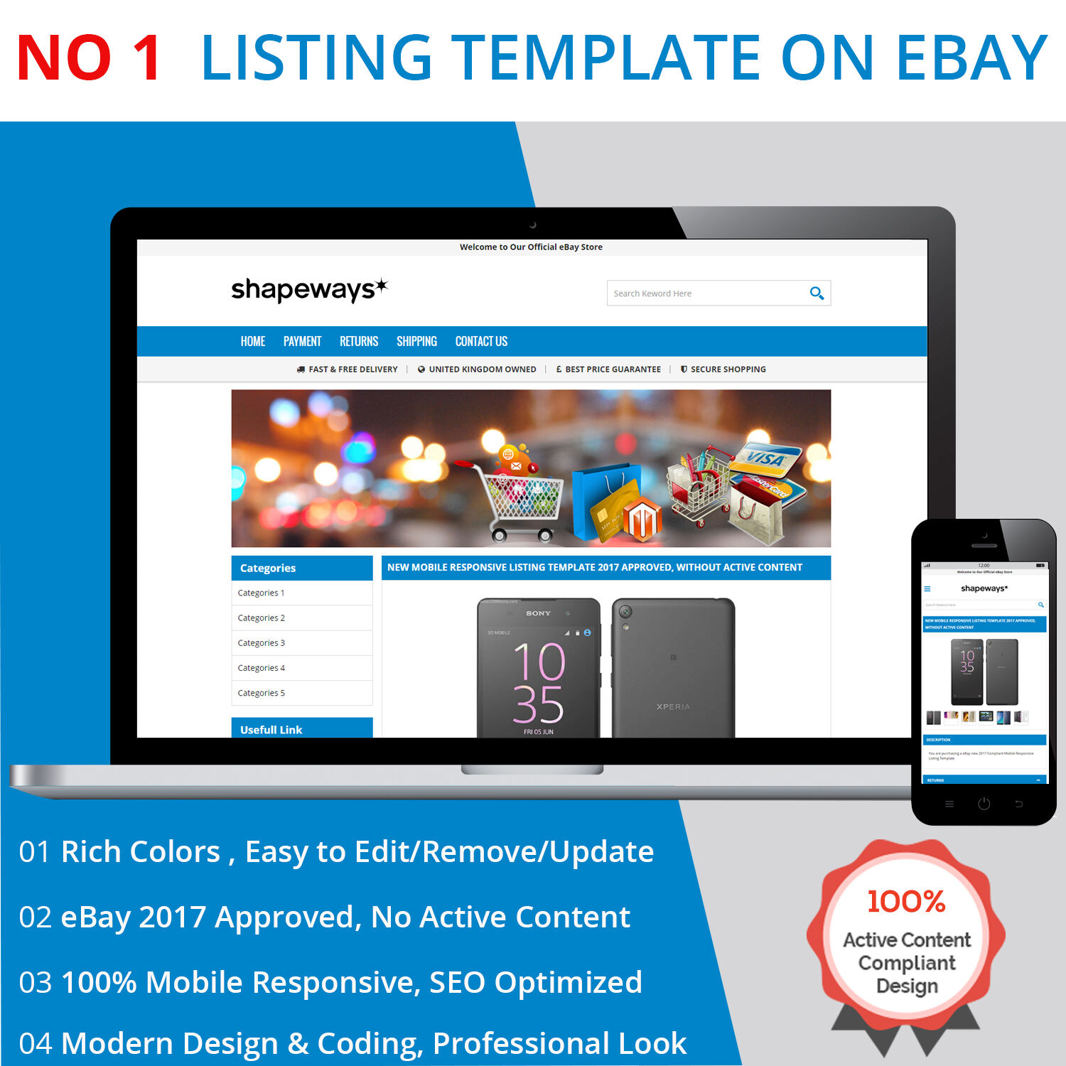Ebay listing template html professional mobile responsive for Free ebay templates html download