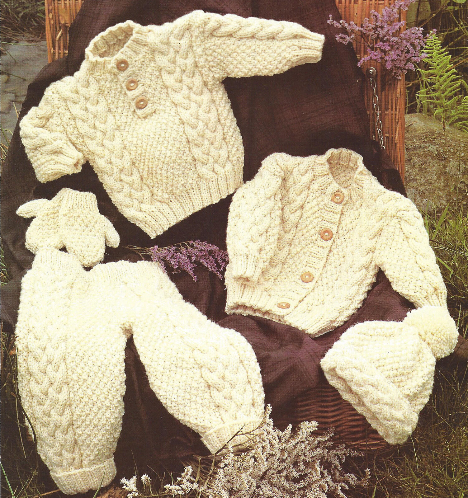 Childs Aran Hat Knitting Pattern : Baby Childs Aran Sweater Jacket Trousers Hat Mittens ...