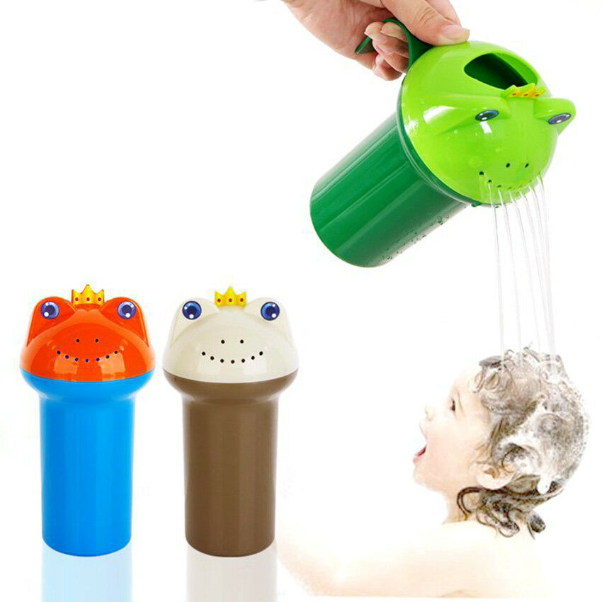 SHOWER FROG CUP Baby Bath Toy Bathing Water Pouring Shampoo Rinse ...