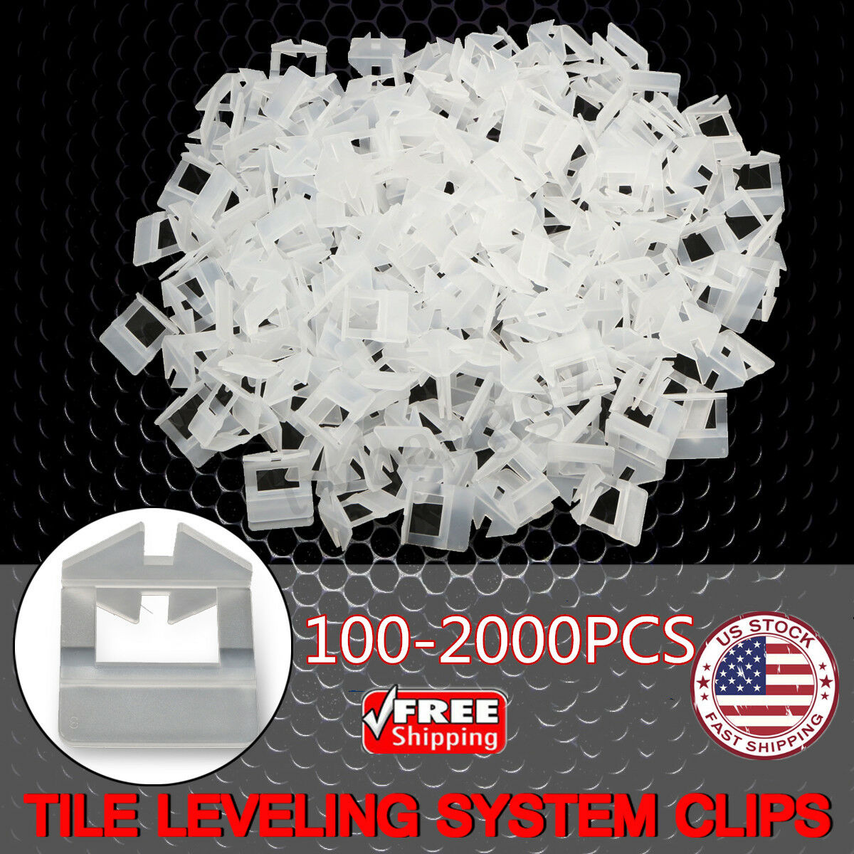 200 1000x Clip Tile Leveling System Kit Floor Wall 10mm Tile Spacer