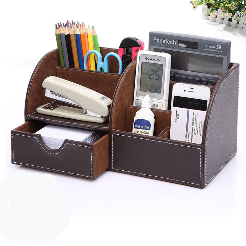 Brown Leather Desk Organizer Pen Pencil Holder Desktop Office Home Storage Box 1 Of 4free