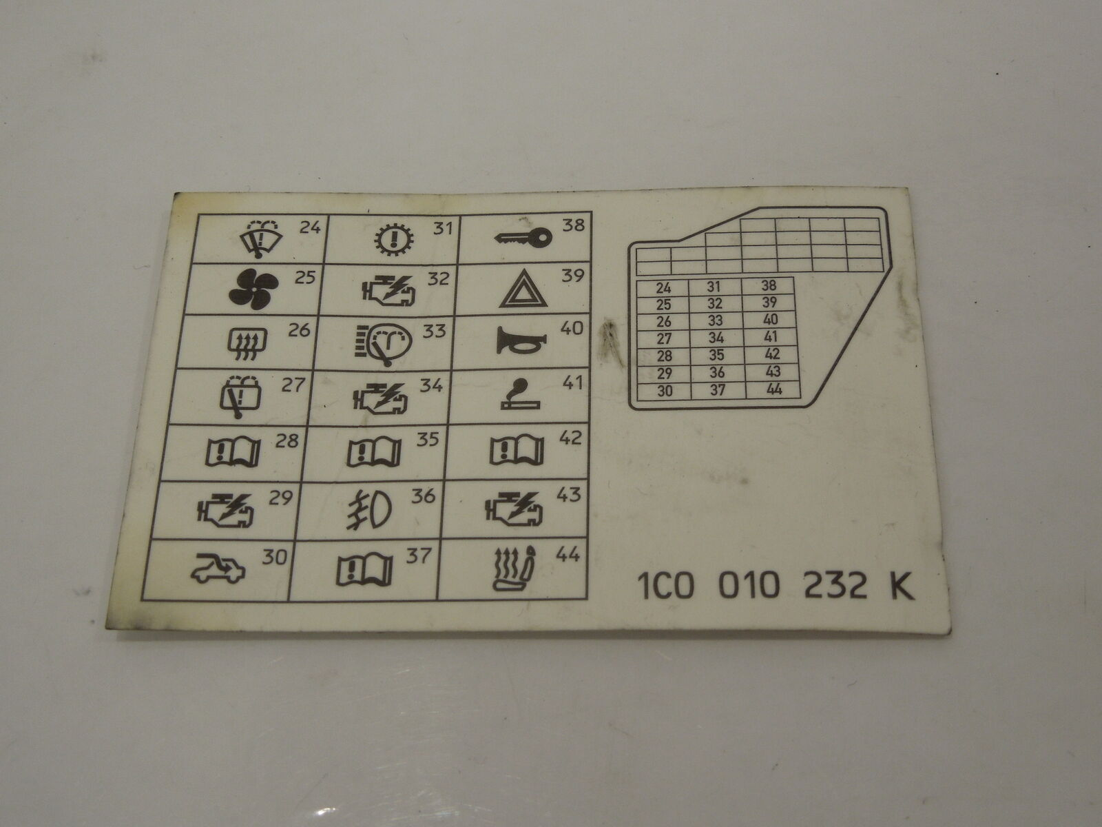 Vw Beetle 9c Fuse Box Card 1c0010232k 599 Picclick Uk Thing 1 Of 1only Available