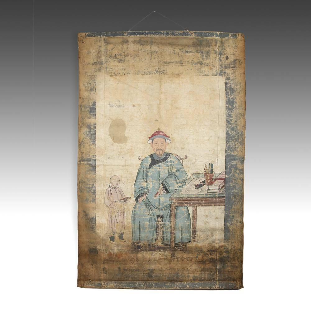 Antique Chinese Ancestor Portrait Scroll Painted Cloth Pigment China 19Th C.