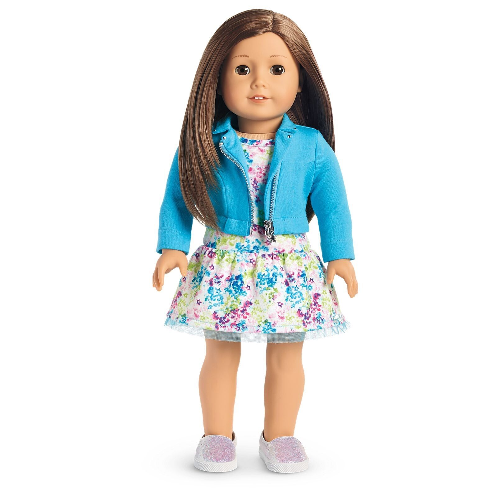american girl truly me doll 59 brand new brown hair w dress moto jacket shoes. Black Bedroom Furniture Sets. Home Design Ideas