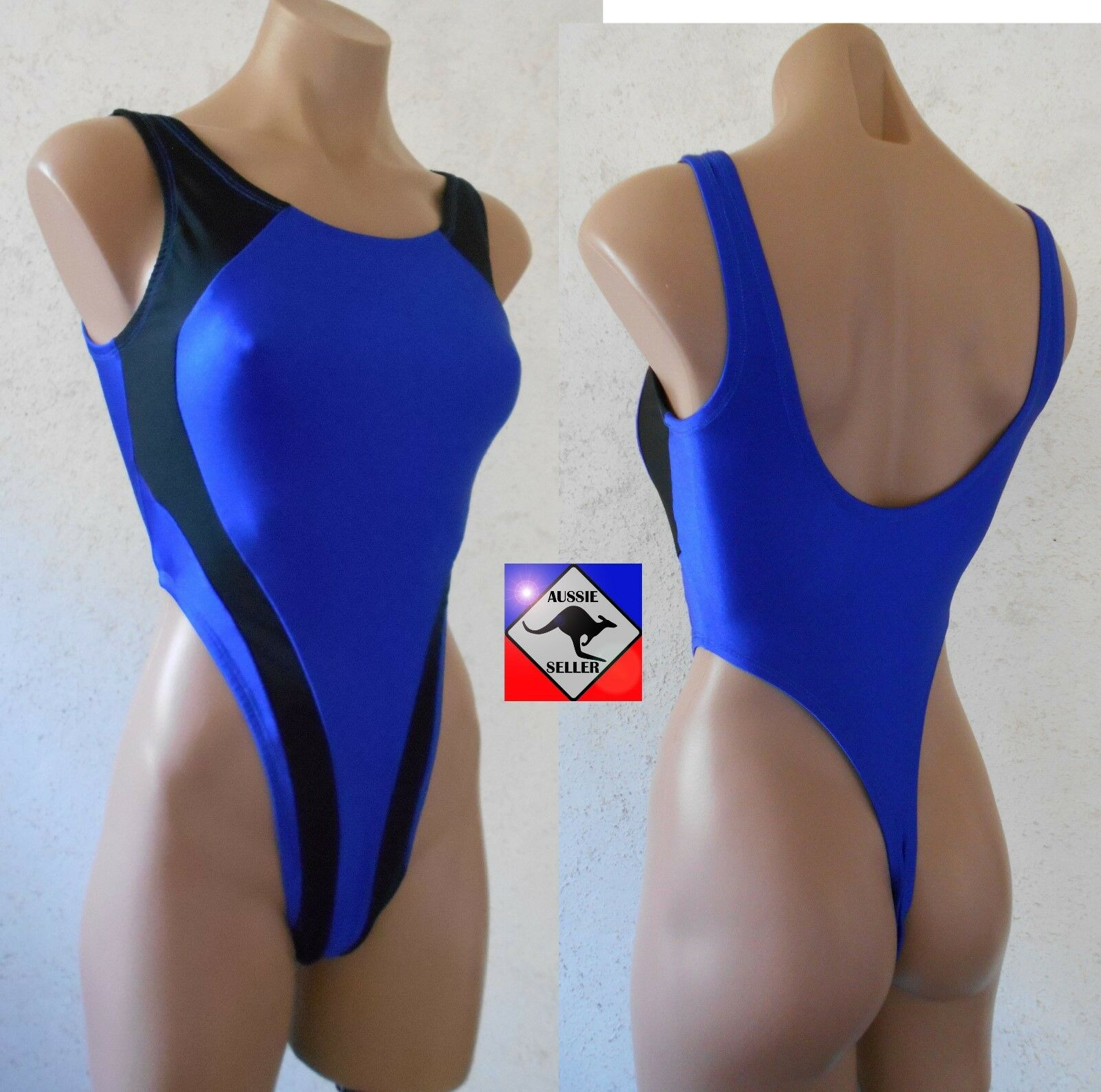 Ladies Blue & Black Tank Thong Leotard. 80's Retro.Sexy High Cut.Aerobics.Dance