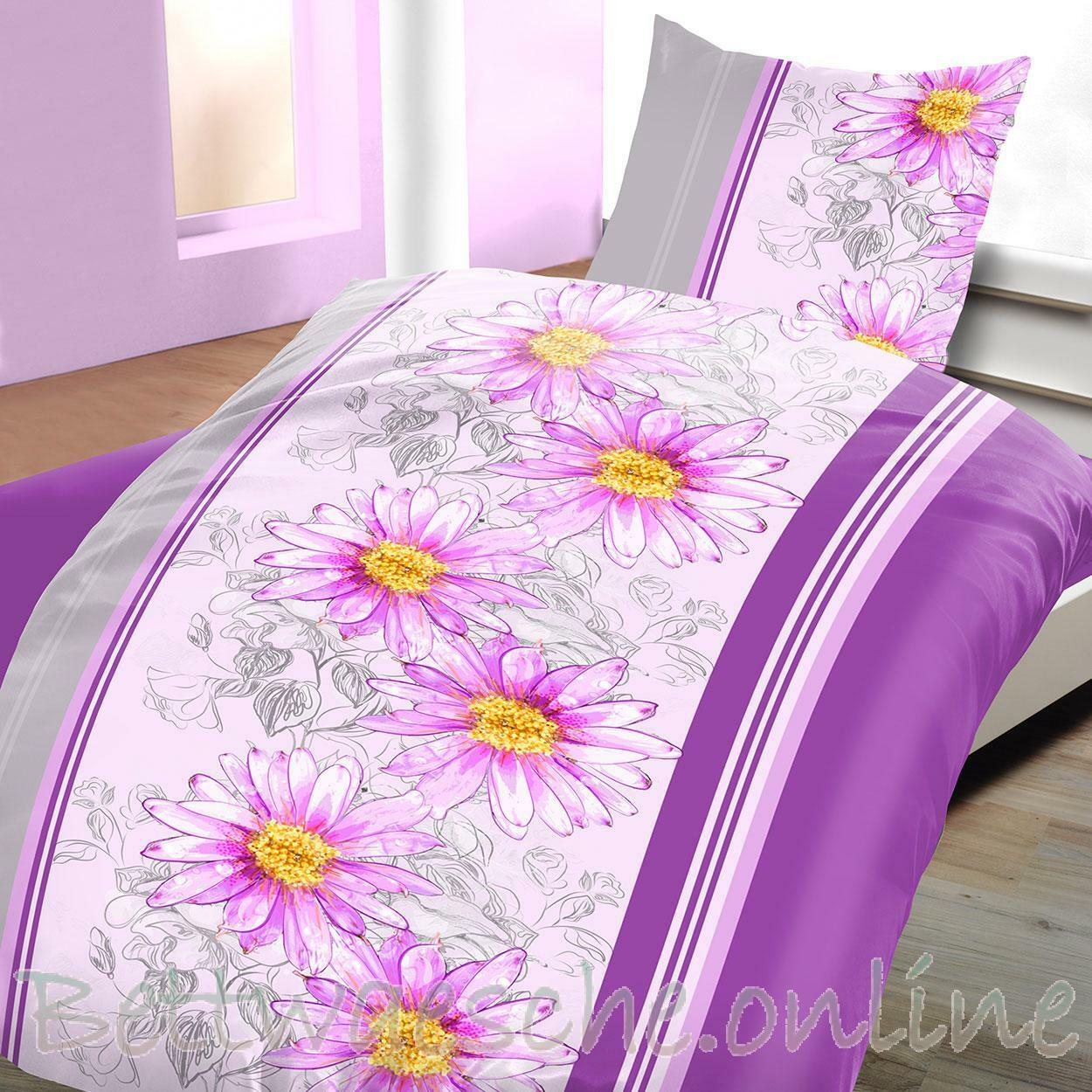 mikrofaser bettw sche 135x200 cm 2 teilig floral blumen streifen violett eur 7 95 picclick de. Black Bedroom Furniture Sets. Home Design Ideas