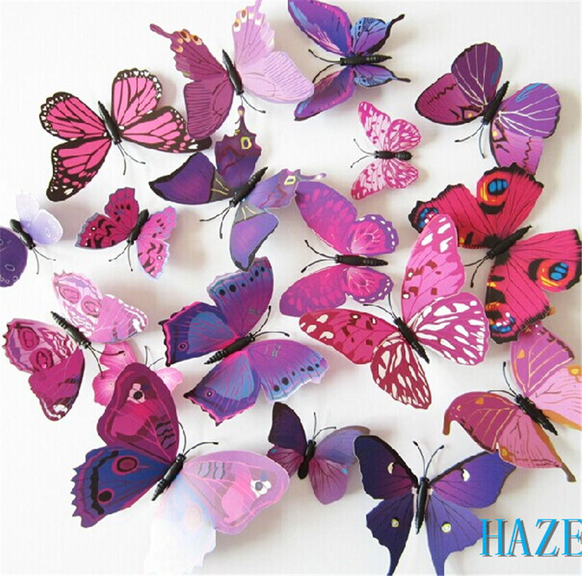Butterfly sticker art design decal wall stickers decor for Butterfly design on wall