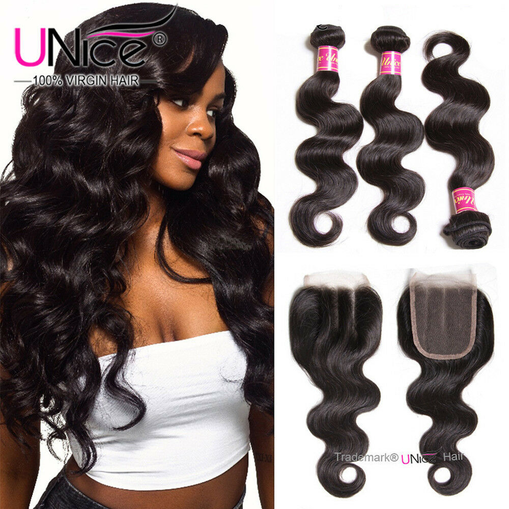 Unice Malaysian Hair Body Wave 3 Bundles With 4x4 Lace Closure Human