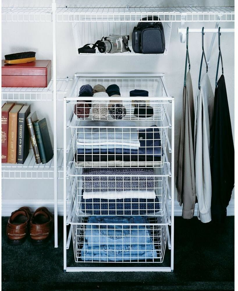 17 IN. DRAWER Kit 4 Wire Baskets Portable Closet Laundry Office ...
