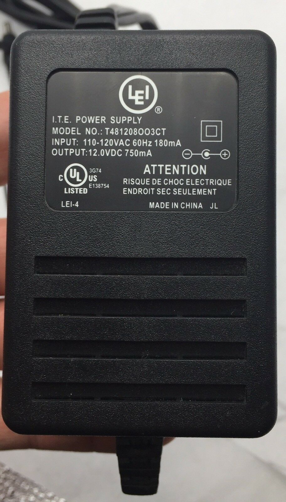 Leader Electronics Inc Lei Ite T481208oo3ct 12vdc 750ma Power Supply New To From 120vac How Does It Work Adapter 1 Of 4only 2 Available