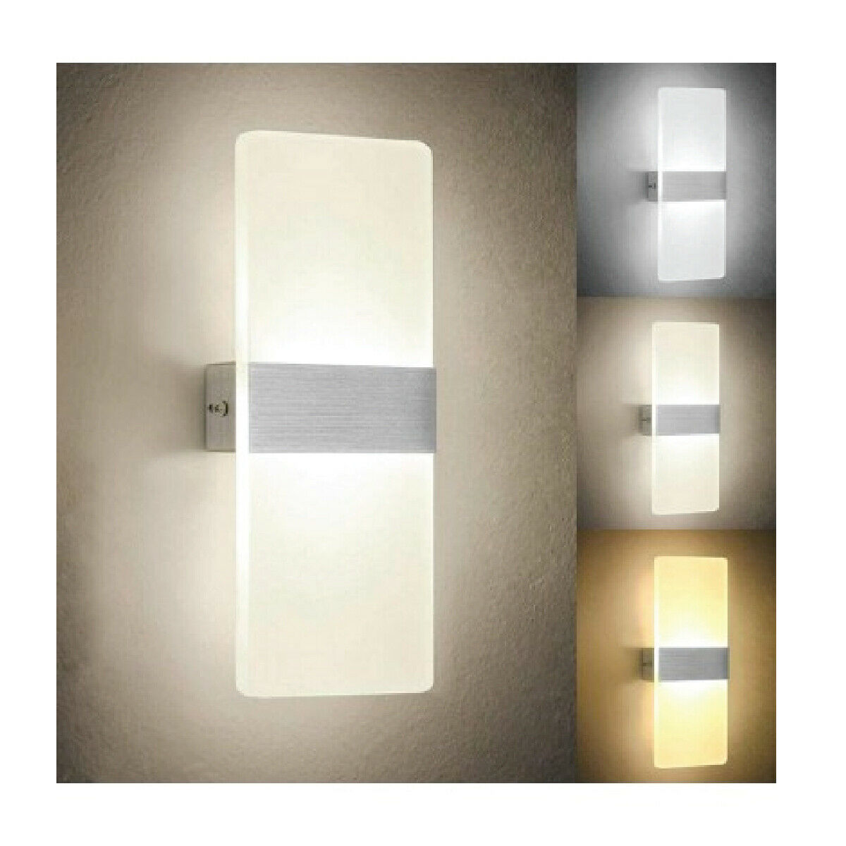 Applique led interno bianca vetro alluminio luce led - Lampadari da interno ...