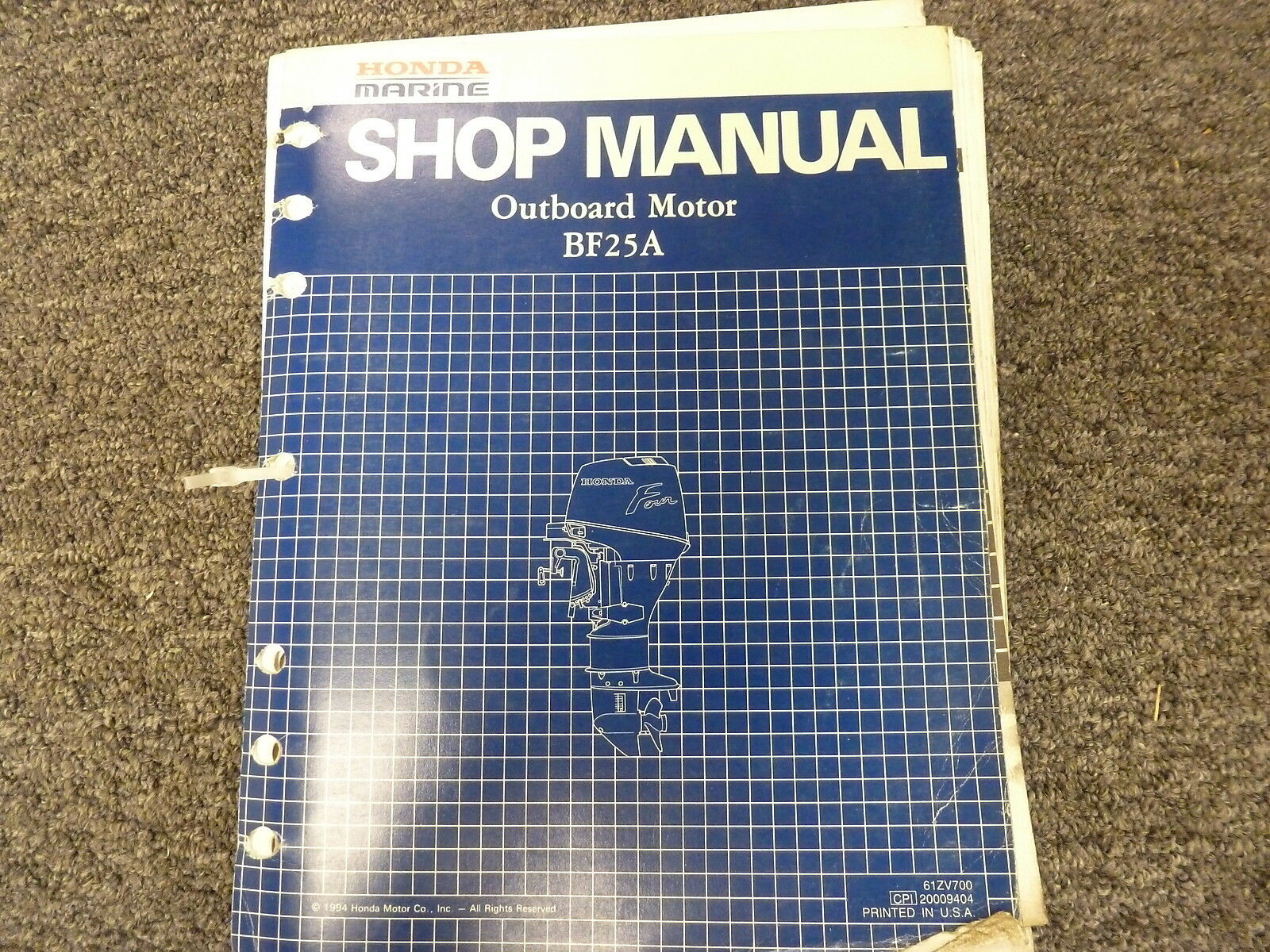 Honda Marine BF25A Outboard Motor Shop Service Repair Manual Issued 1994 1  of 1Only 1 available ...