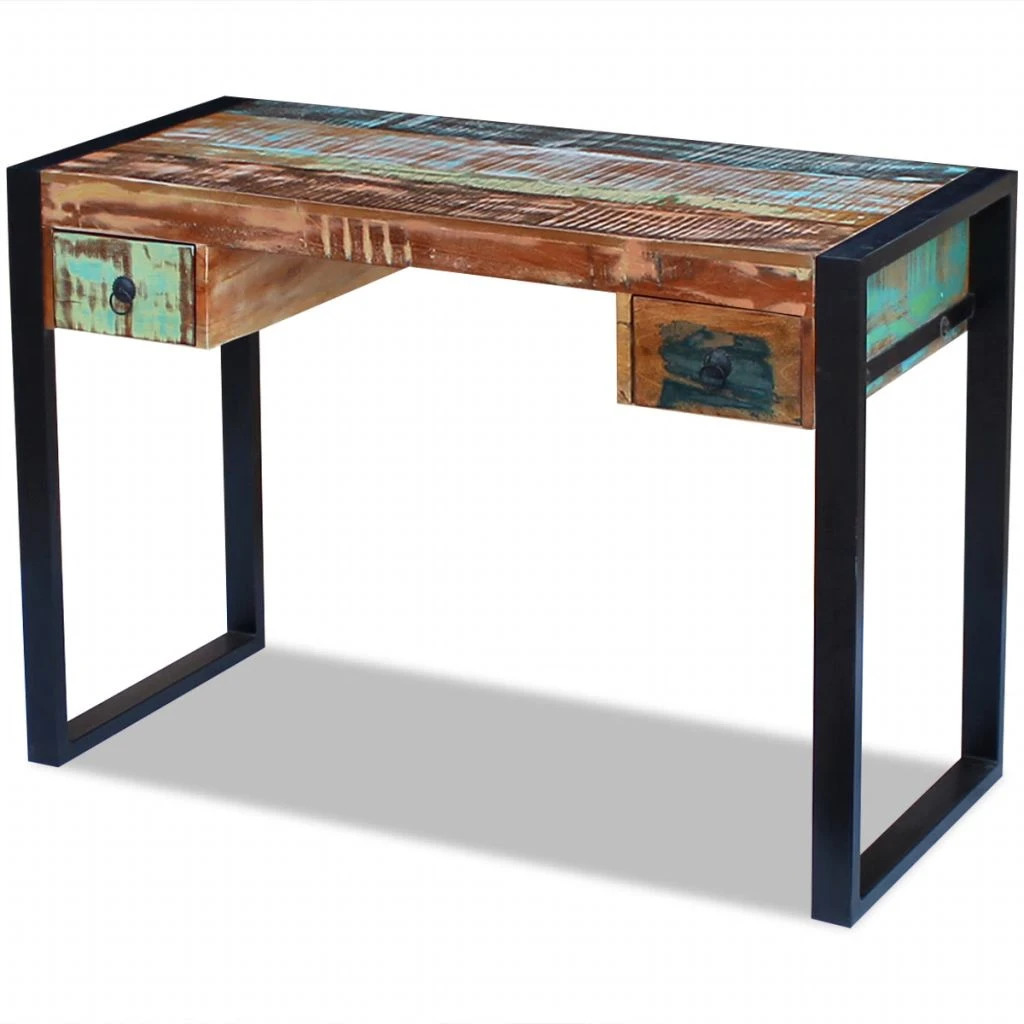 Vidaxl Solid Reclaimed Wood Workstation Computer Desk Home Office Table 2 Drawer 1 Of 9only 5 Available