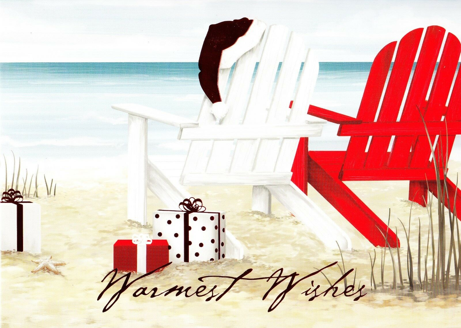 CHRISTMAS AT THE Beach Warmest Wishes Holiday Greeting Cards - $2.95 ...
