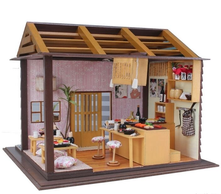 Kits Diy Wooden Dollhouse Sushi Shop Doll House Led Light