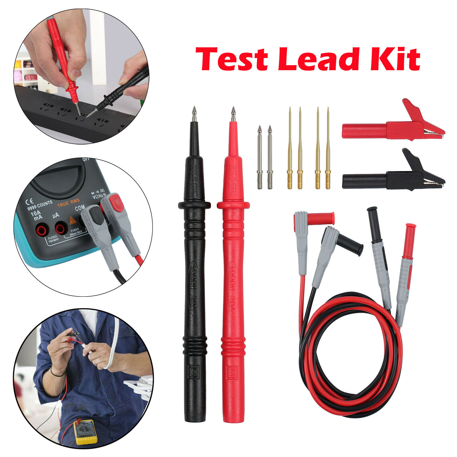 MULTIMETER TEST LEAD Kit Probe Alligator Clips 12 in 1 SET for Fluke ...