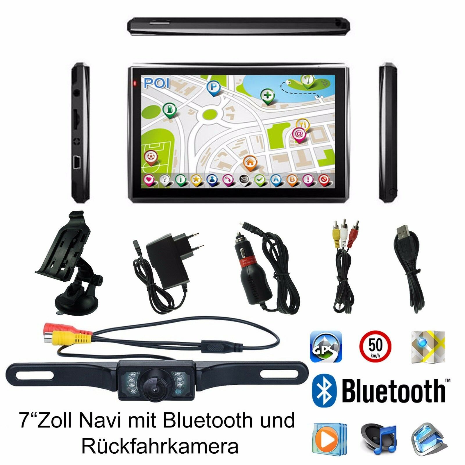 7 zoll auto lkw gps navigationsger t navigation mit r ckfahrkamera und bluetooth eur 98 60. Black Bedroom Furniture Sets. Home Design Ideas