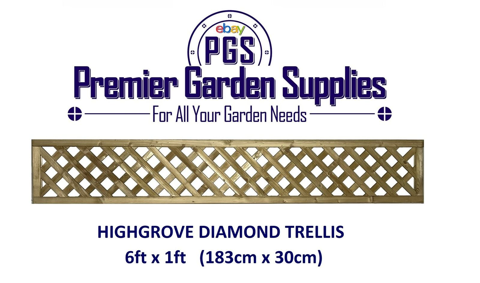 6X1 ELITE HIGHGROVE Lattice Diamond Trellis 180x30cm Garden Wood ...