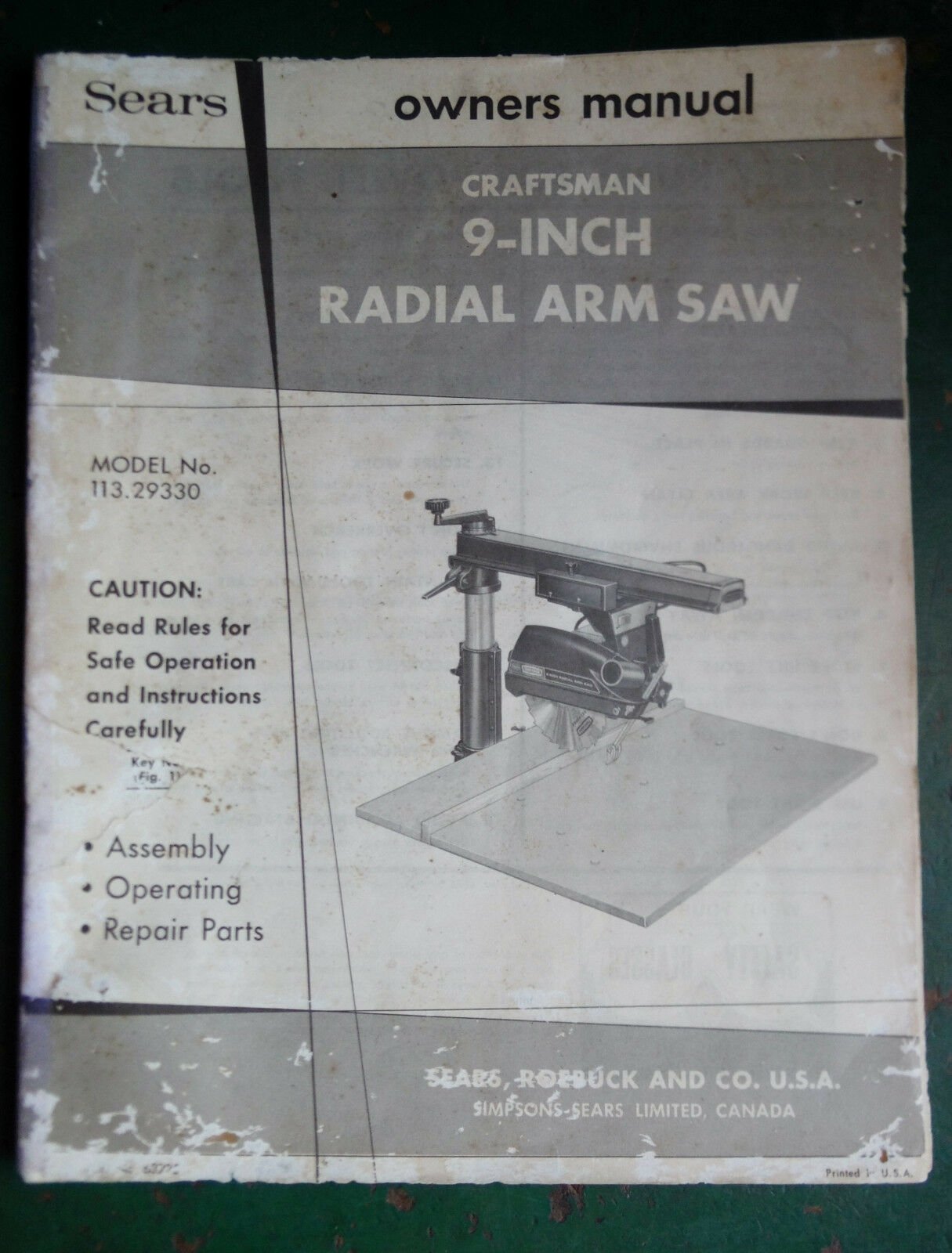 Sears Craftsman 9 Inch Radial Arm Owners Vtg Manual Book Model No Back Cabinet Diagram And Parts List For Porter Cable Generatorparts 1 Of 12only Available