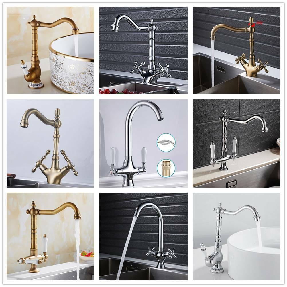 TRADITIONAL KITCHEN SINK Mixer Taps Twin Lever Solid Brass Monobloc ...