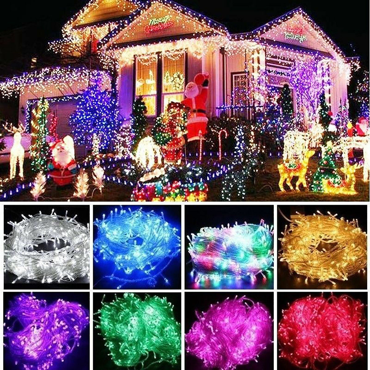 100 200 500 800 1000 led innen au en lichterkette weihnachten mode deko fenster eur 6 66. Black Bedroom Furniture Sets. Home Design Ideas