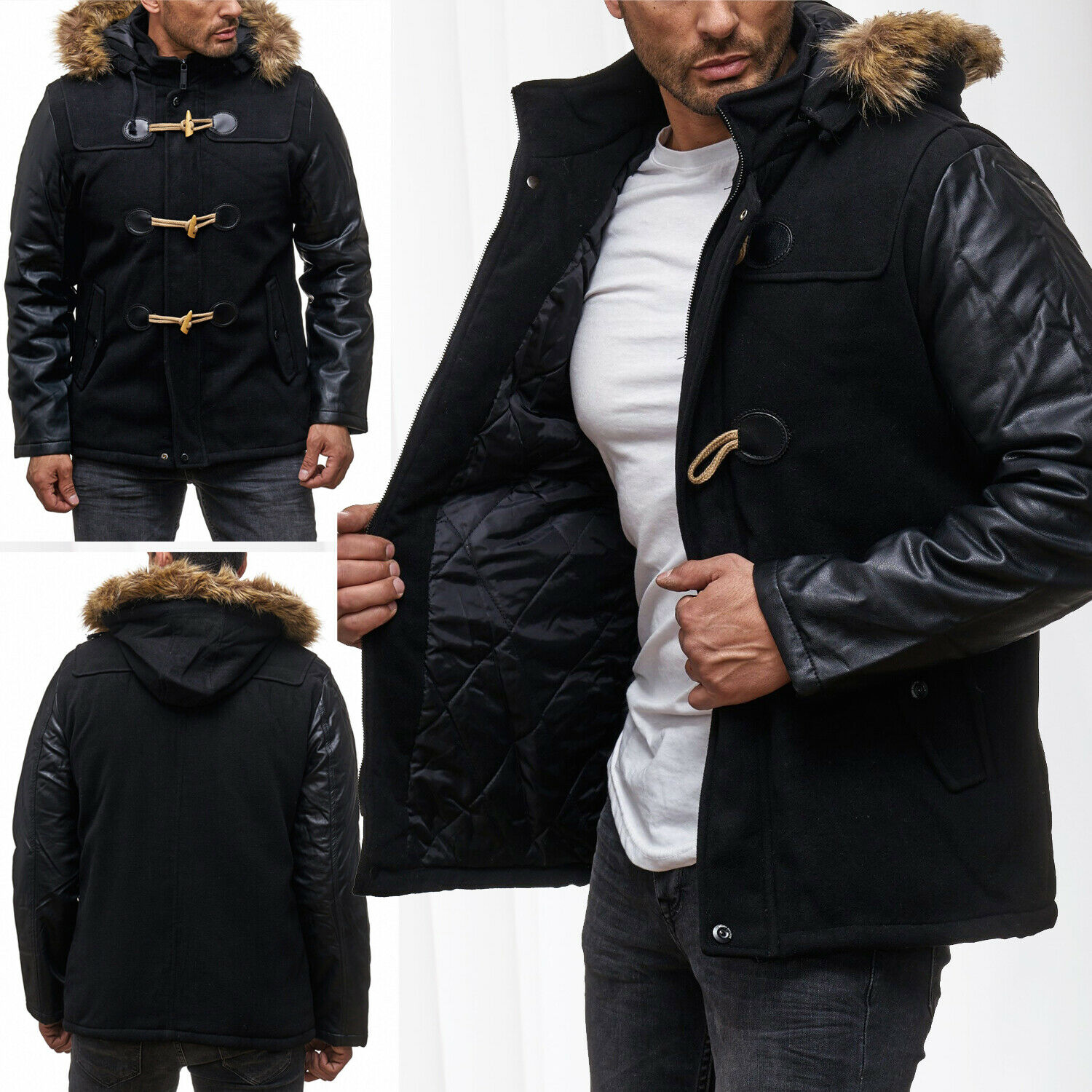 herren winterjacke parka mit fell kapuze jacke biker leder. Black Bedroom Furniture Sets. Home Design Ideas