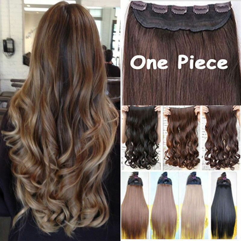 Women One Piece Real Clip In On Hair Extensions Full Head Straight