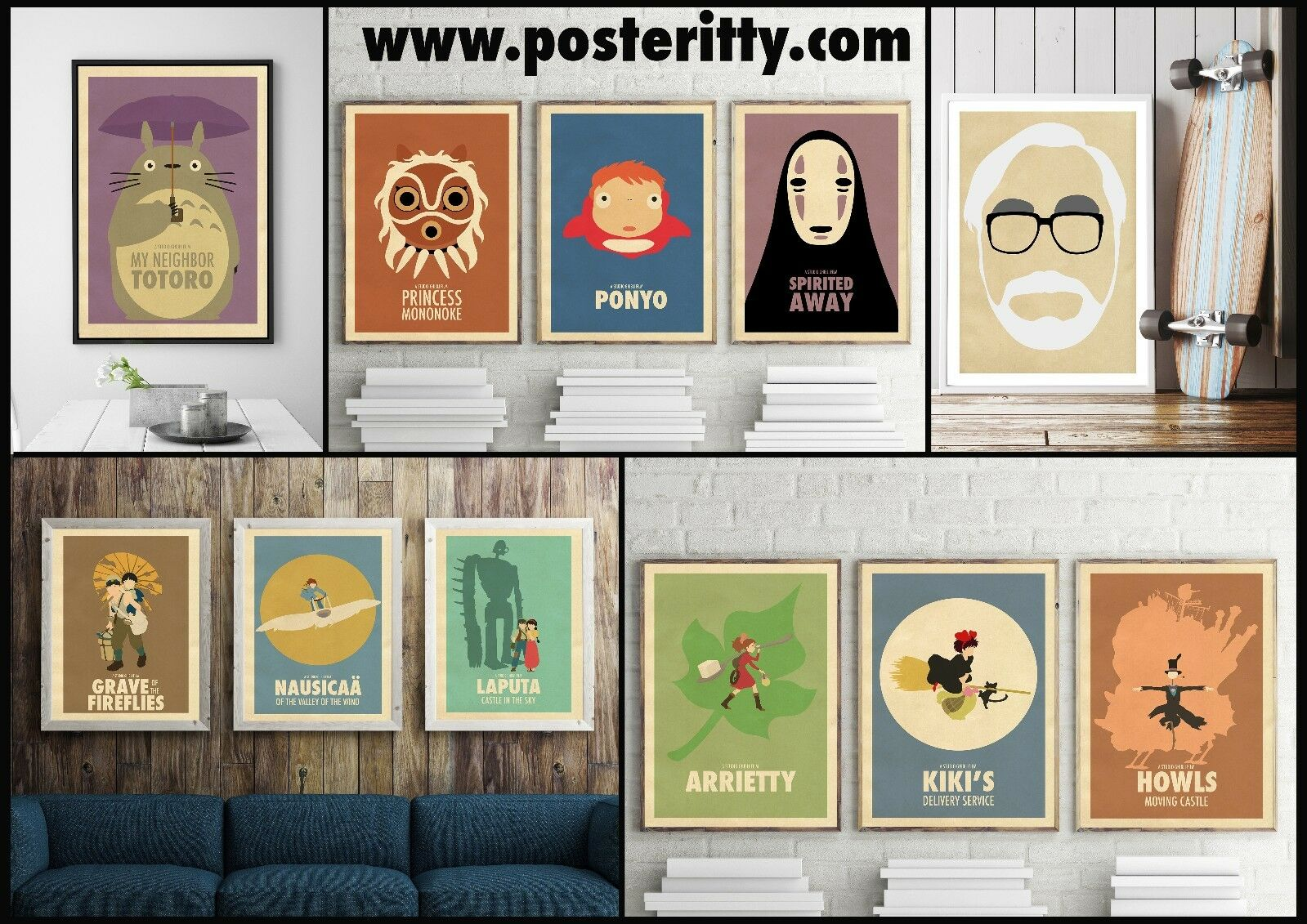 studio ghibli minimalist movie poster collection minimal art by posteritty eur 4 51. Black Bedroom Furniture Sets. Home Design Ideas