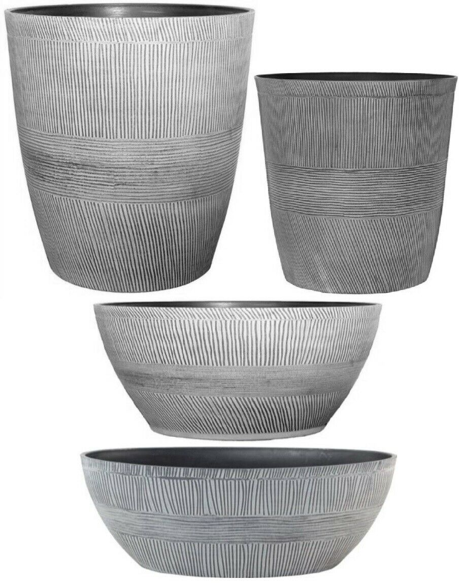 Ebony Grey Small Large Plant Pots Round Plastic Planters Indoor Outdoor Garden 1 Of 2free See