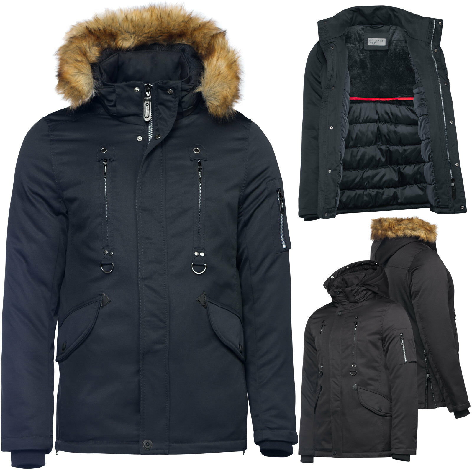 herren winterjacke wasserdicht lang parka fell kapuze. Black Bedroom Furniture Sets. Home Design Ideas