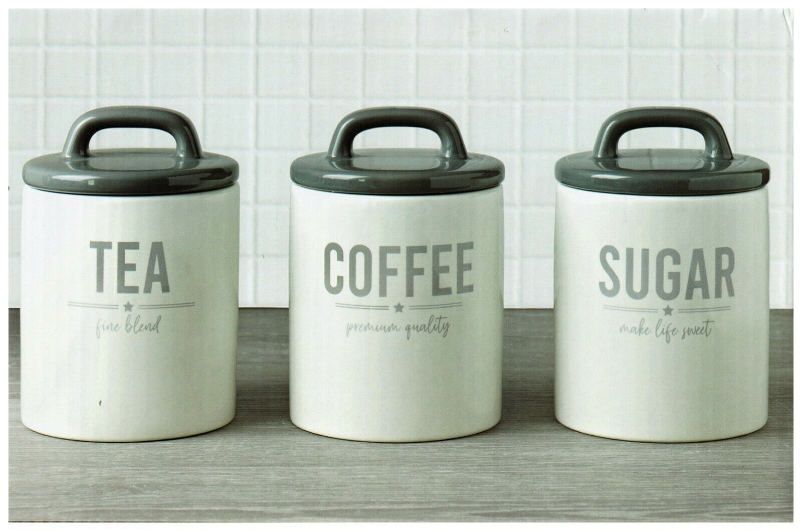 Vintage Retro Style Text Ceramic Tea Coffee Sugar Canisters Storage Jar Set 3 Uk 1 Of 2only 0 Available