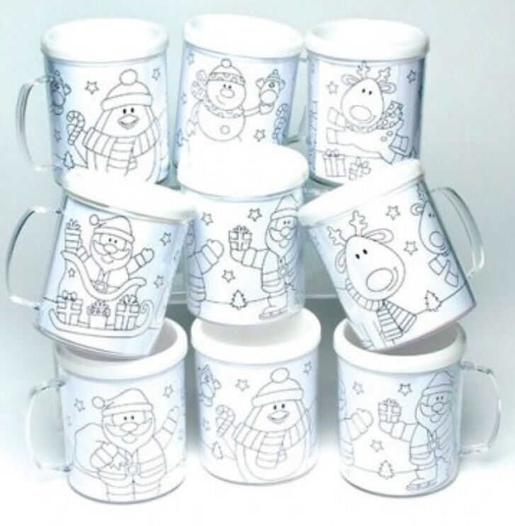 COLOUR IN CHRISTMAS Mugs Children\'s Kids Homemade Gifts - £1.25 ...