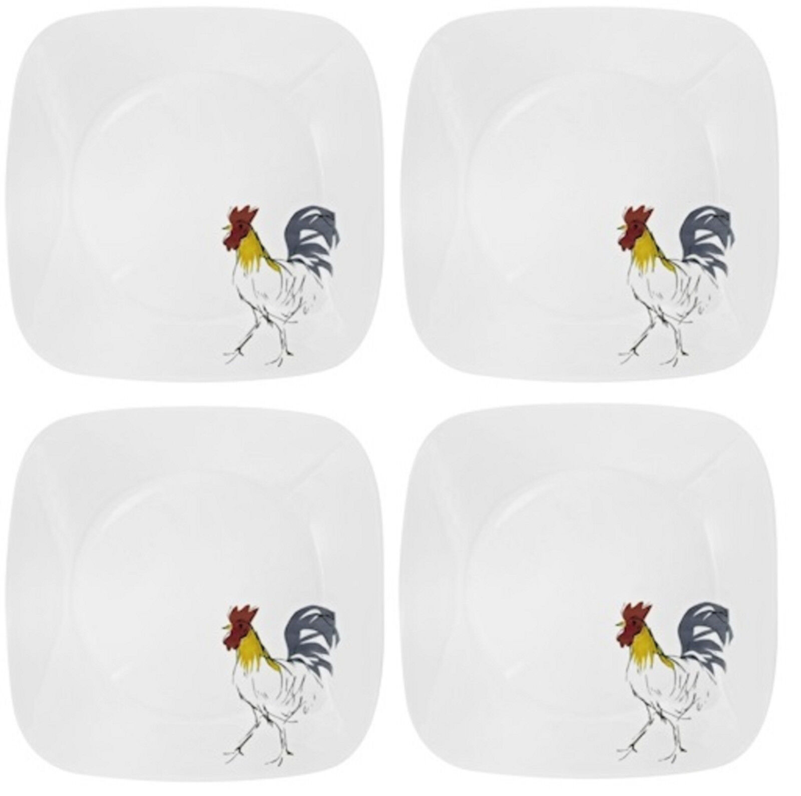 NEW! SET OF 4 Corelle Square Country Dawn 10 1/4\