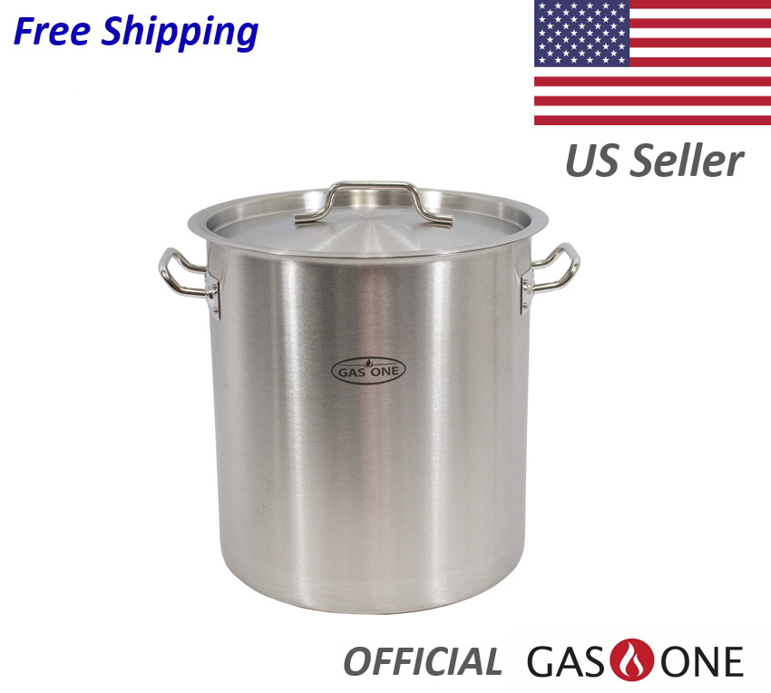 Stainless Steel Brew Kettle Pot 5 Gallon 20 Quart Satin Finish W Lid By Gas One 1 Of 8free Shipping