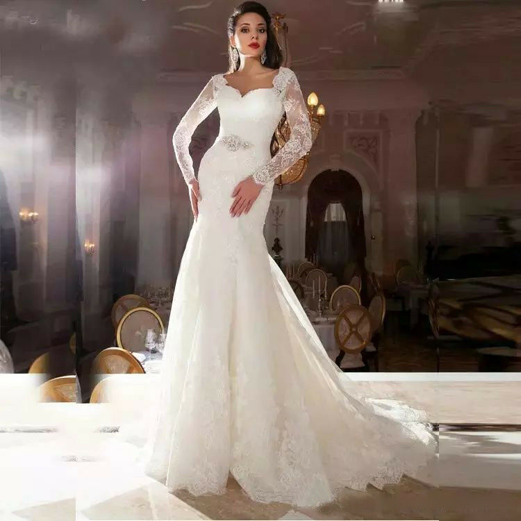 ELEGANT WHITE/IVORY LONG sleeve wedding dresses bridal gowns lace ...