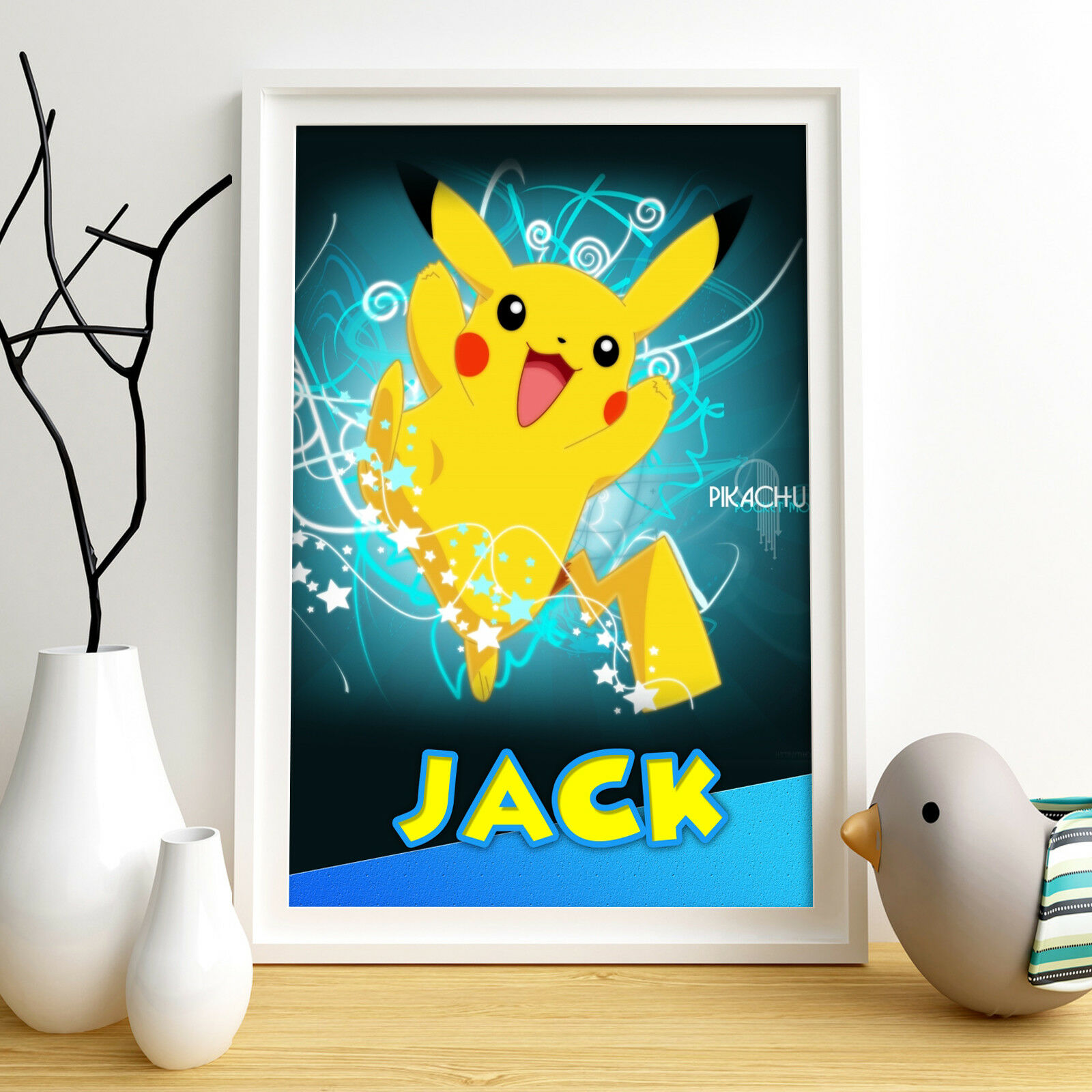 PIKACHU POKEMON PERSONALISED Poster A4 Print Wall Art Any Name ...