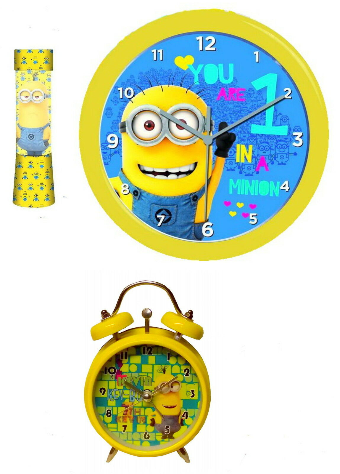 minions wanduhr wecker glitterlampe lampe optional mit handtuch eur 18 95 picclick de. Black Bedroom Furniture Sets. Home Design Ideas