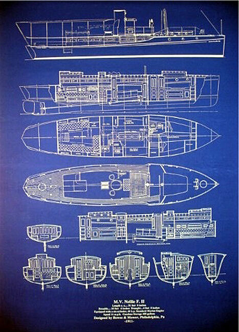 Yacht plan motor boat cruiser 1911 blueprint 23x29 old style blue 1 of 2 see more malvernweather Images