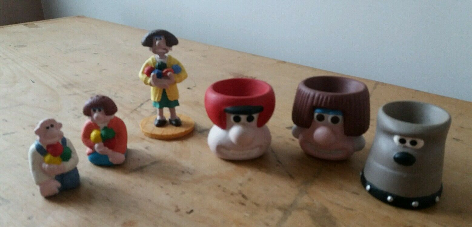 WALLACE & GROMIT-WALLACE-WENDOLINE SALT & PEPPER , 3 egg cups ...