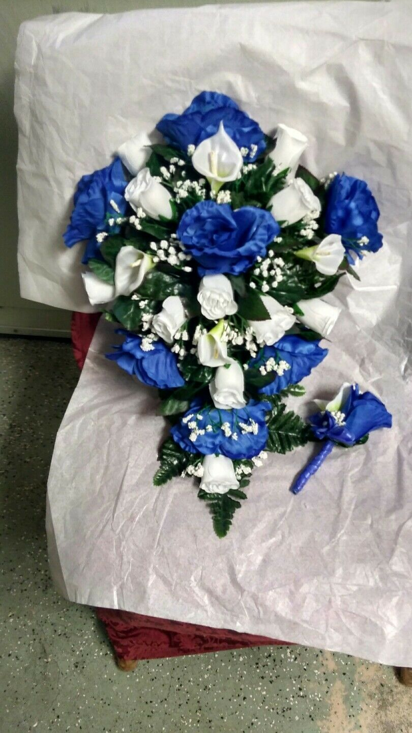 Large Wedding Bouquet Royal Blue And White Cala Lilies Cascade Toss