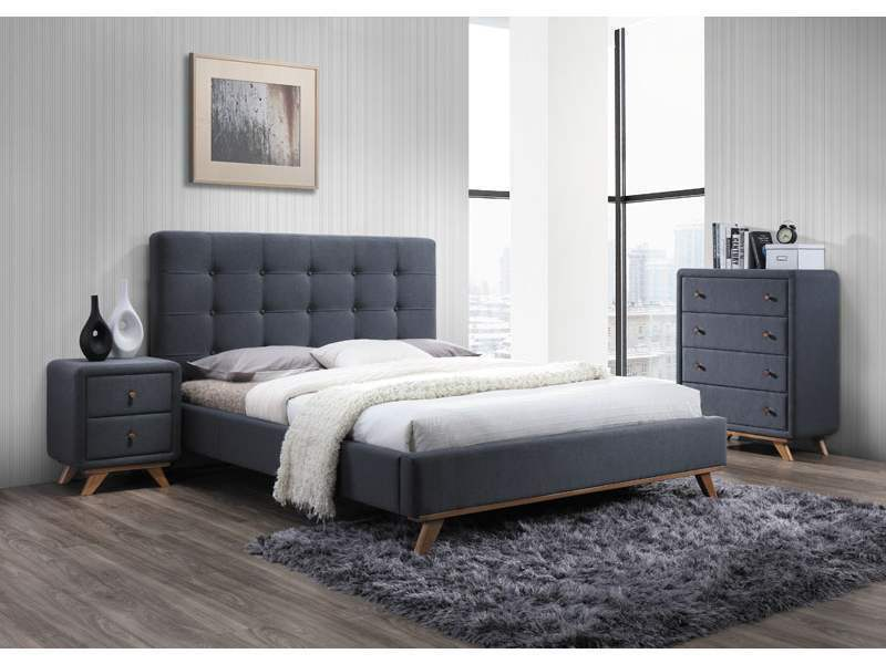 polsterbett doppelbett stoffbett bettgestell 160 x 200 bett grau skandinavisch eur 429 00. Black Bedroom Furniture Sets. Home Design Ideas