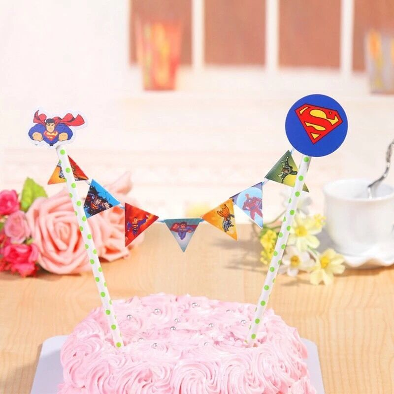 Superman Birthday Cake Banner Topper Flag Decoration Party Supplies
