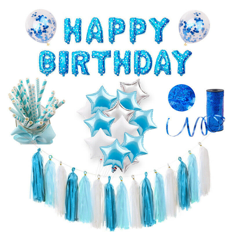 Blue Theme Party Decoration For Baby Boy Birthday Baby Shower Supply