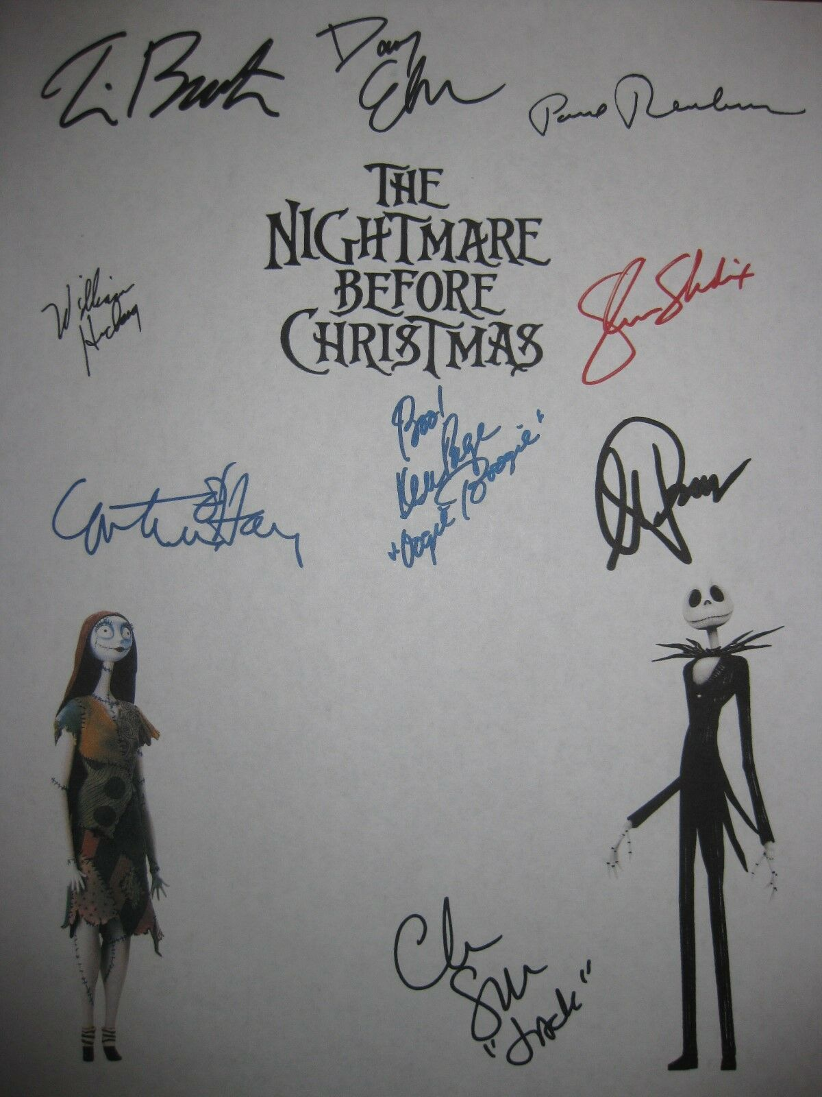 THE NIGHTMARE BEFORE Christmas Signed Script X9 Danny Elfman Tim ...