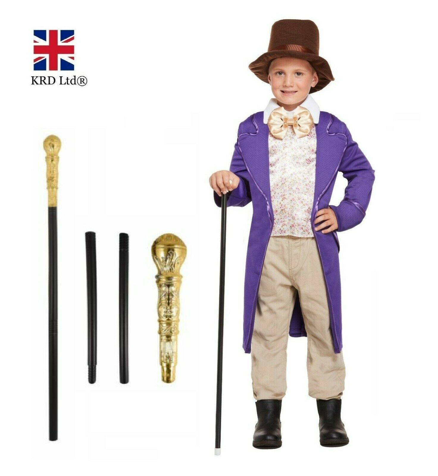 Kids WILLY WONKA COSTUME Roald Dahl Book Day Week Boys Child Fancy Dress New  UK 1 Of 3FREE Shipping See More