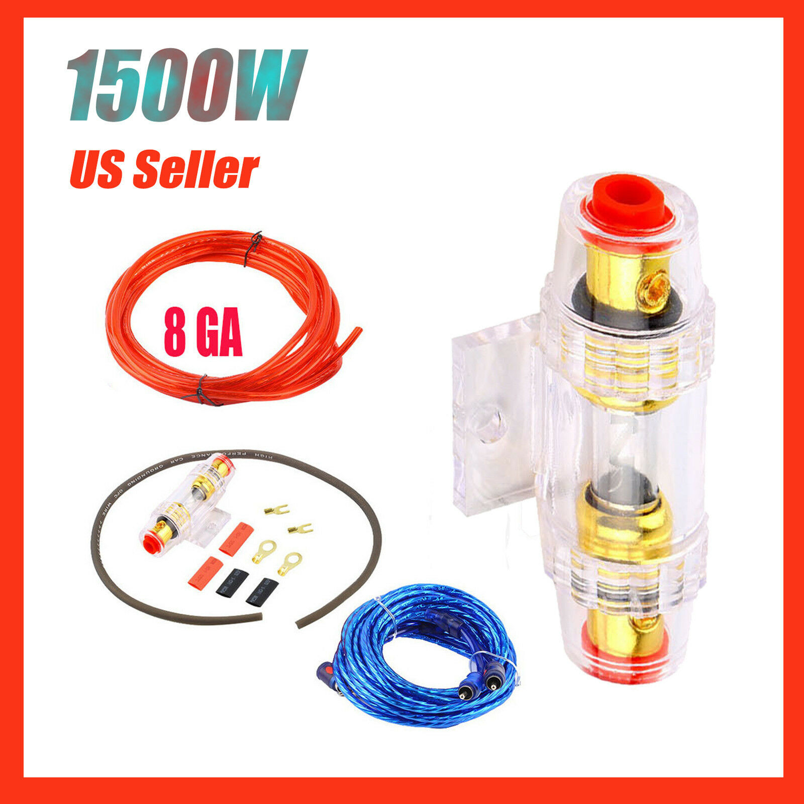 1500w 8ga Car Audio Subwoofer Amplifier Amp Wiring Fuse Holder Wire Cable Kit Qz 1 Of 7only 5 Available
